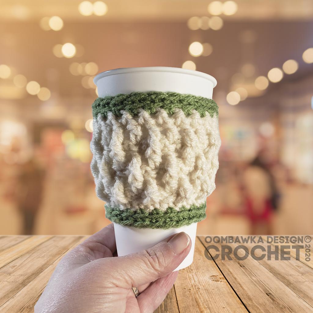 Alpine Stitch Coffee Cup Sleeve - Free Pattern Friday