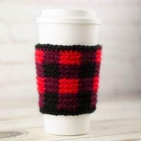 Buffalo Plaid Cup Sleeve - Free Pattern Friday