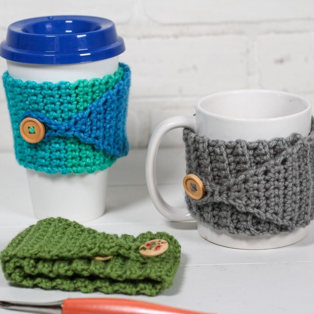 Buttoned Mug Cozy - Free Pattern Friday