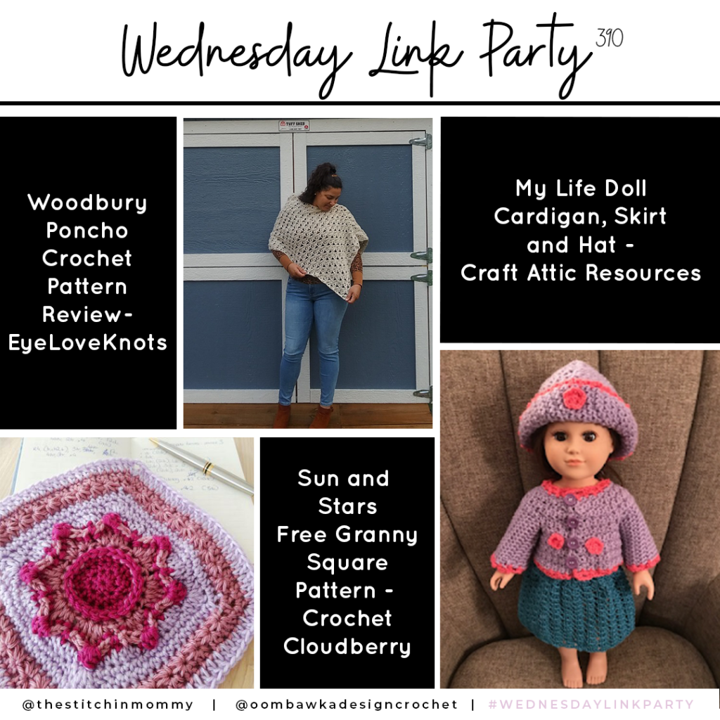 Link Party 390 - Woodbury Poncho - Sun and Stars Granny - Doll Cardigan Set