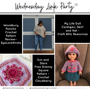 Link Party 390 - Woodbury Poncho - Sun and Stars Granny - Doll Cardigan Set