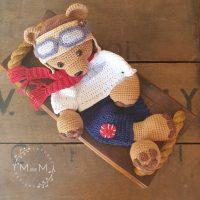 Melly Teddy Ragdoll Pilot Bear - mandmcrochetdesigns