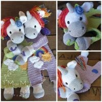Rainbow Unicorn Ragdoll - mandmcrochetdesigns