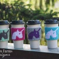 Unicorn Coffee Cup Sleeve - Free Pattern Friday