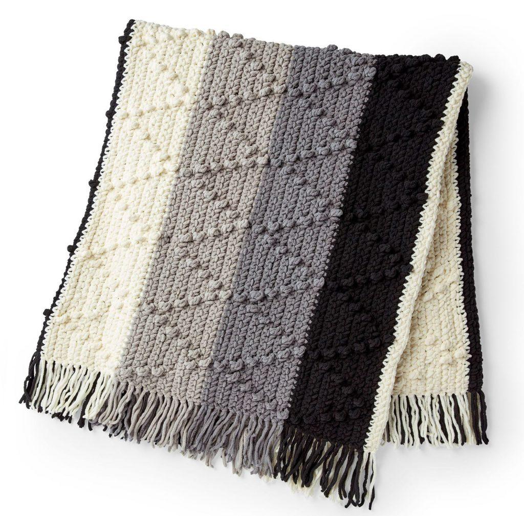 Bobble Chevron Striped Blanket Free Pattern Friday