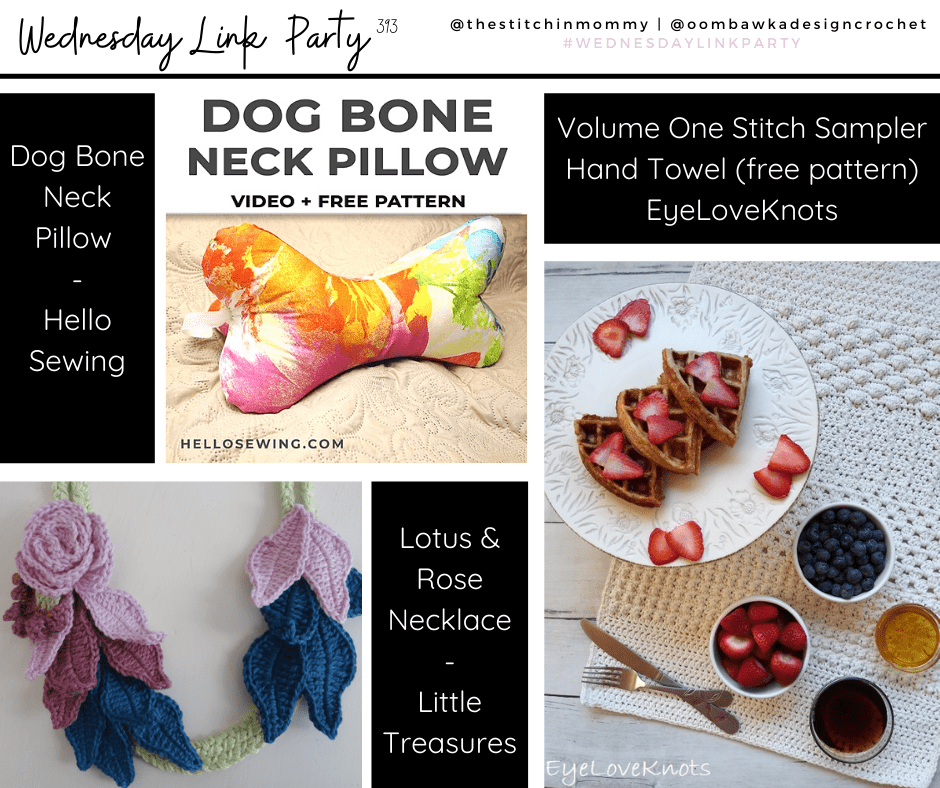 Stitch Sampler Hand Towel, Lotus and Rose Necklace, Dogbone Neck PillowWednesday Link Party 393 FB