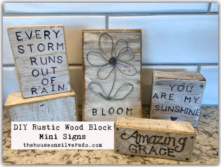 Link Party 395 - DIY Rustic Wood Block Mini Signs