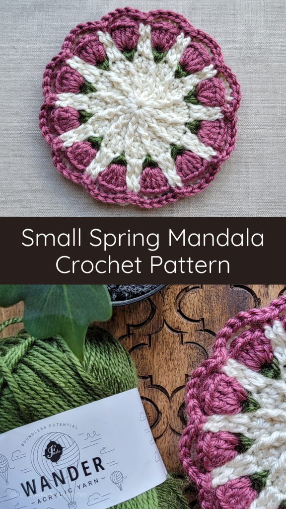 Small Spring Mandala Pattern 2021 - PIN - @oombawkadesigncrochet