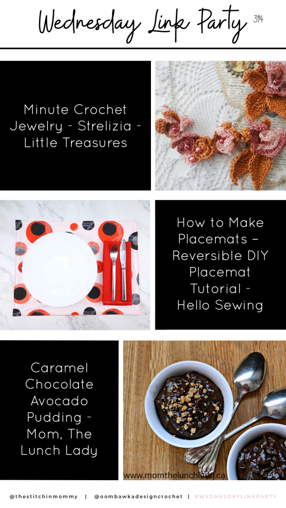 Wednesday Link Party 394 - Reversible Placemat - Chocolate Avocado Pudding - Minute Crochet Jewelry
