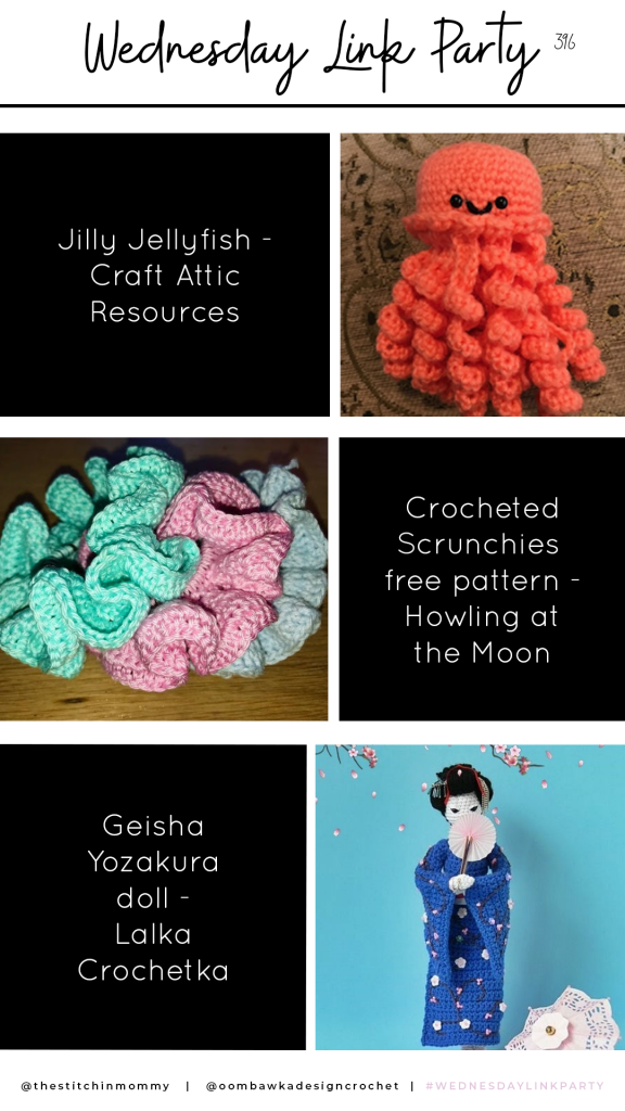 Features a fun Jilly Jellyfish Crochet Project from Craft Attic Resources, an easy Crocheted Scrunchies Pattern from Howling at the Moon and a beautiful Geisha Yozakura Doll from Lalka Crochetka.