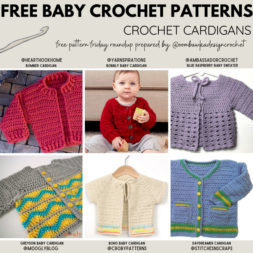 This roundup includes 26 free crochet baby cardigan pattern options. I've included the Yarn Weight and Hook Size for each pattern in the collection, as well as the available sizes. I hope this makes it easier for you to find the baby crochet pattern that you need. #babycrochet #babycardigan #crochetforbaby