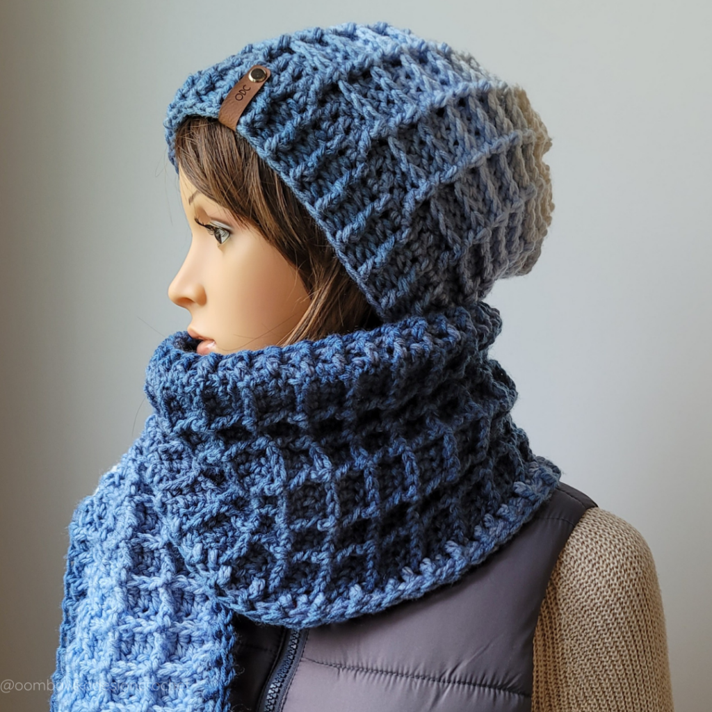 Just Another Day Hat Scarf - Waffle Stitch Hat ODC