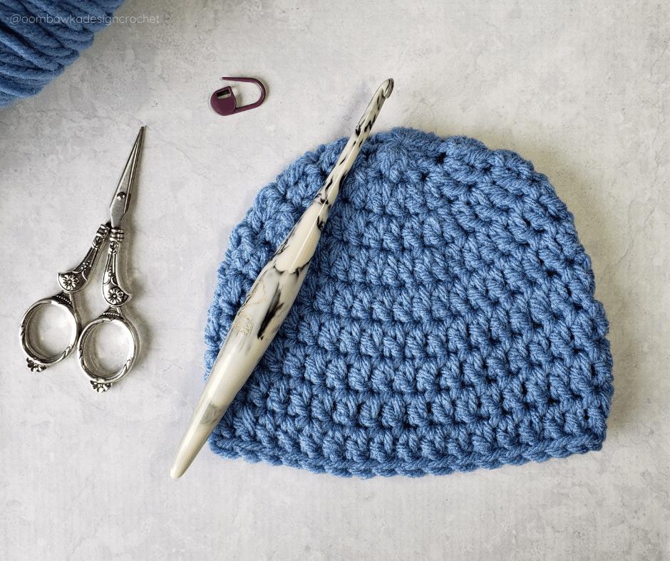 Newborn Double Crochet Beanie Pattern and Video