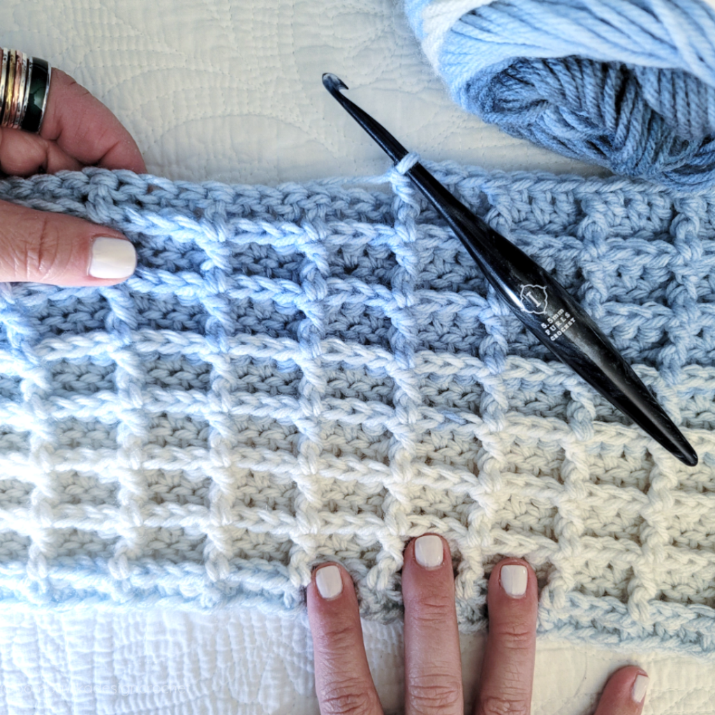 Waffle Stitch Hat - May - Just Another Day Hat Yarn: Caron Jumbo Ombre - Medium Weight Yarn [4] and Hook 5.5 mm (I) Furls Streamline Swirl Galaxy Pisces. #yarnspirations #caron #hatofthemonth #furlscrochet #furlsinf521