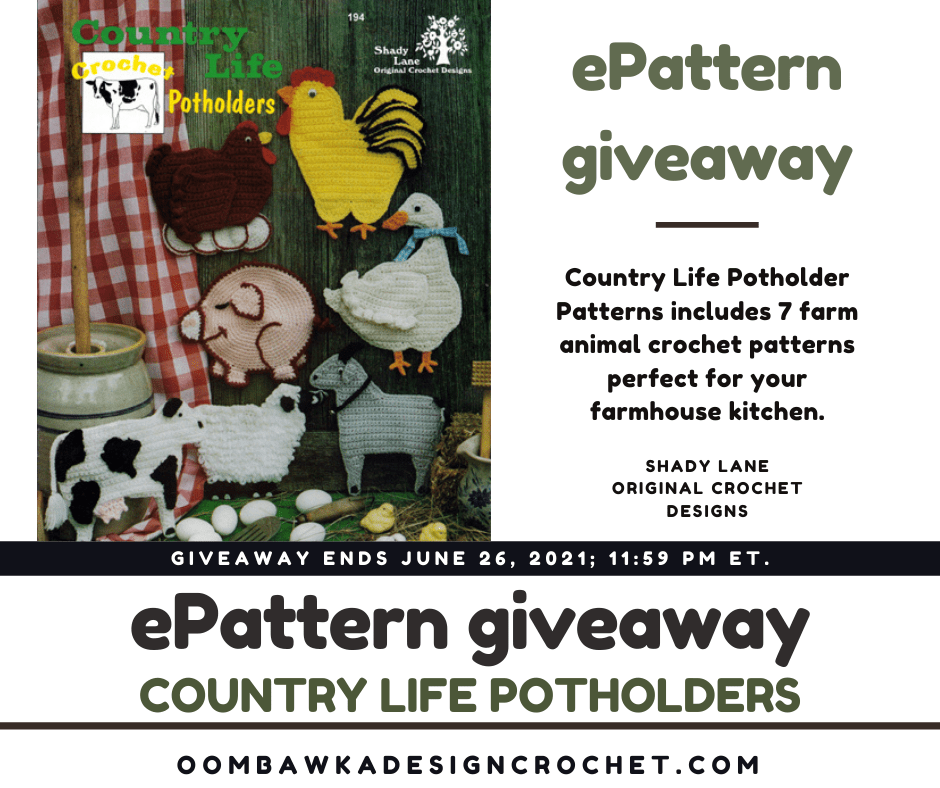 Country Life Potholders - Shady Lane Pattern - Review and Giveaway