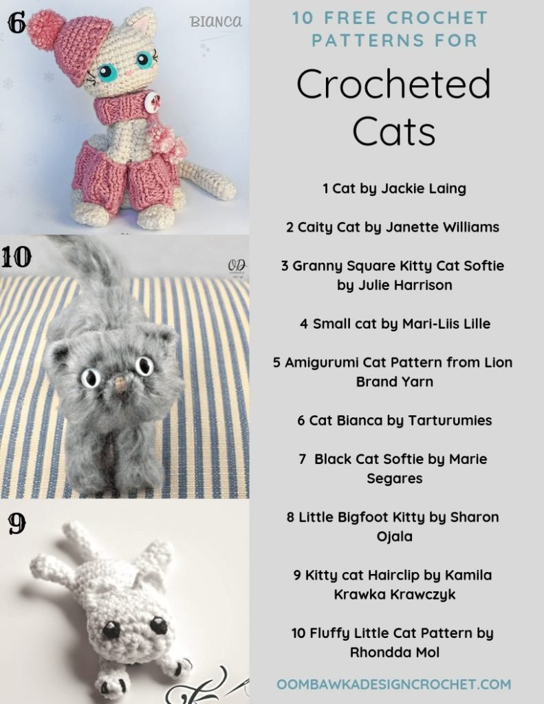 10-Free-Patterns-for-Crochet-Cats-by-Oombawka-Design-Crochet-Roundup circa 2018