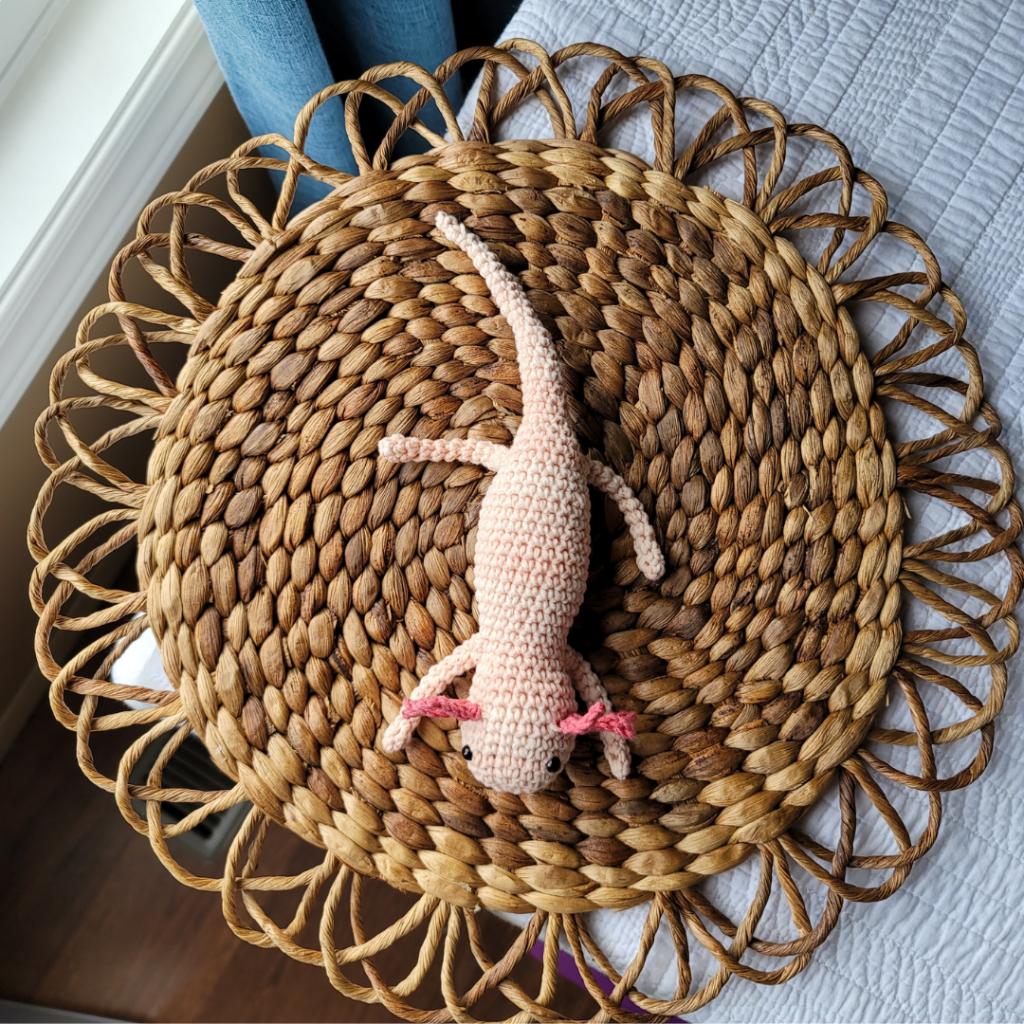 Amigurumi Axolotl Top Down Image