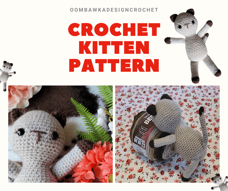 Crochet Kitten Pattern @oombawkadesigncrochet