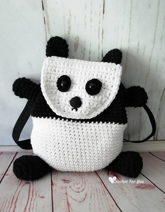 Crochet Panda Backpack - Free Pattern Friday