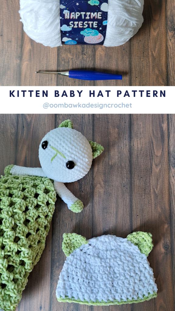 Kitten Baby Hat Pattern - Kitten Lovey Pattern