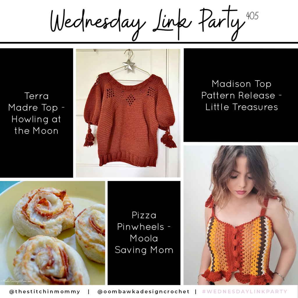 Wednesday Link Party Features. Party 405 features the pretty Terra Madre Top, the lovely Madison Top and a recipe for Pizza Pinwheels.