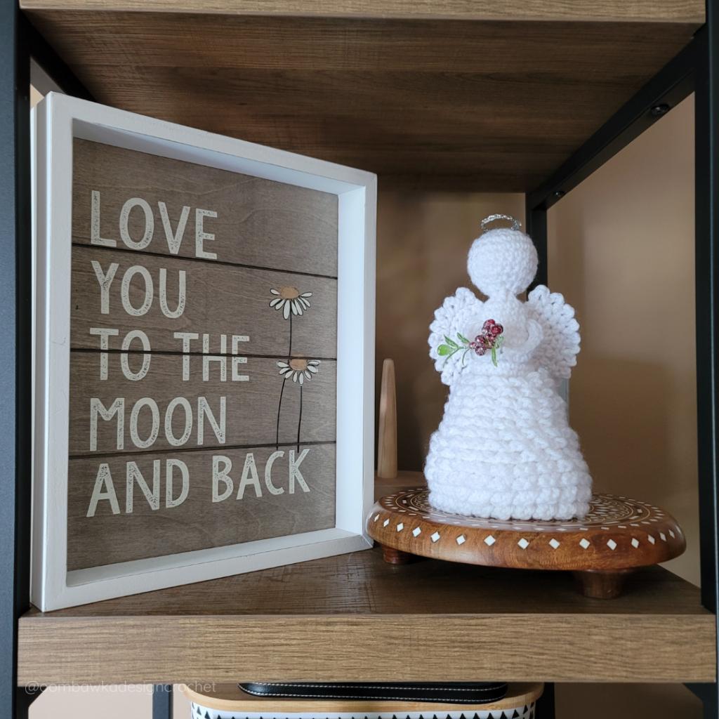 2021 Crochet Angel on my book shelf - Oombawka Crochet