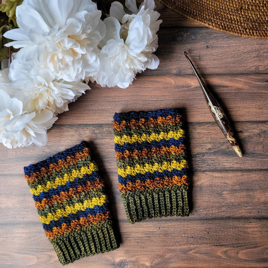 Completed Overcast Fingerless Gloves - Brine Dyeworks Yarn