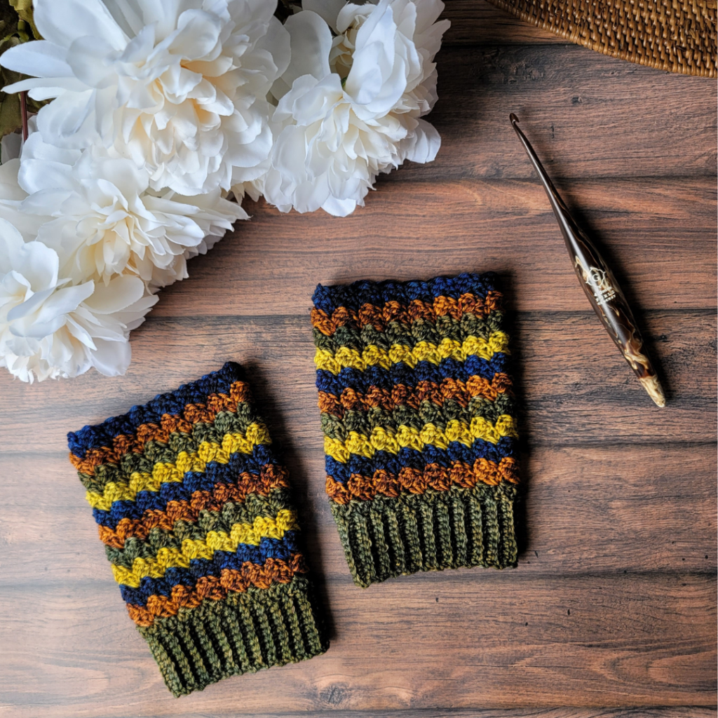 Finished Overcast Fingerless Mittens - Brine Dyeworks Yarn