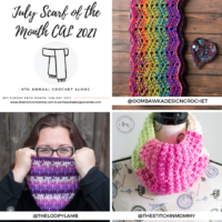 July Scarf of the Month CAL Patterns > Daydreamer Cowl > 2021 Roll With It Scarf > Shifting Posts Crochet Cowl #scarfofthemonth @thestitchinmommy @theloopylamb @oombawkadesigncrochet