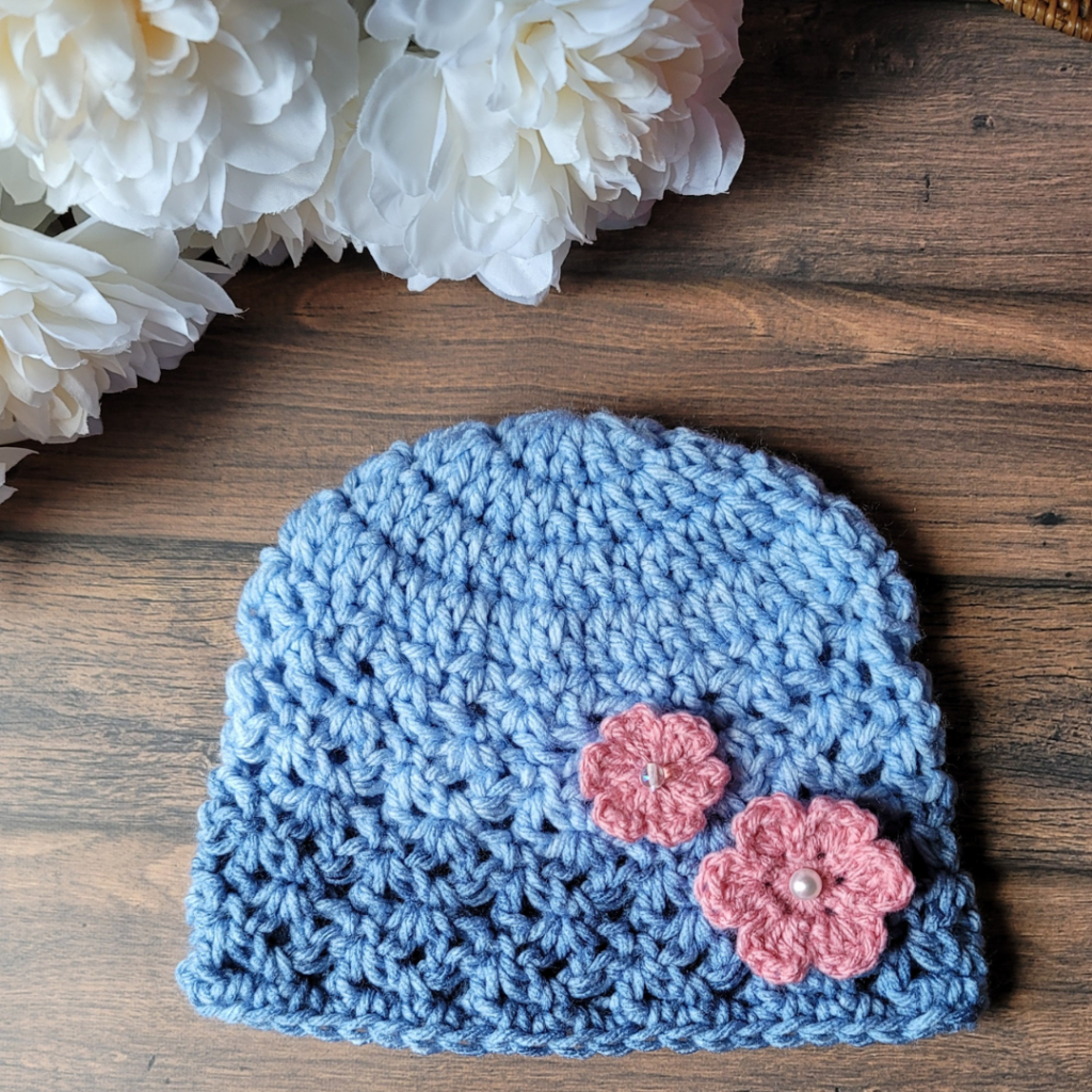 Little Flower Layered with Pearl Button on Hat 2