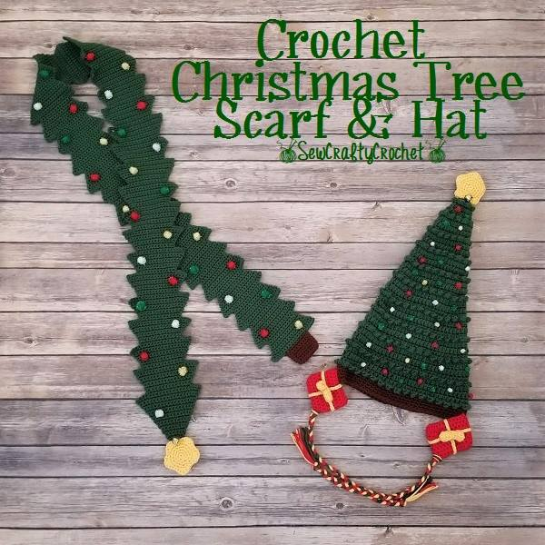 Christmas Tree Scarf and Hat Set - Link Party 410