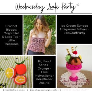 Wednesday Link Party 412 - Filet and Lace Top, Orange Amigurumi and Ice Cream Sundae Amigurumi