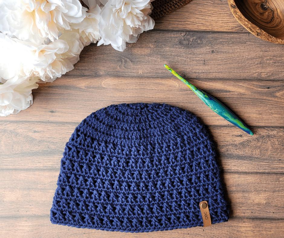 Cody Autumn Wool Hat Pattern FB Navy Oombawka Design Crochet