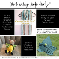 Wednesday Link Party 414. Features Ocean Breeze Scarf, Samuel Whiskers; Fairy Leaf Ivy Parasol