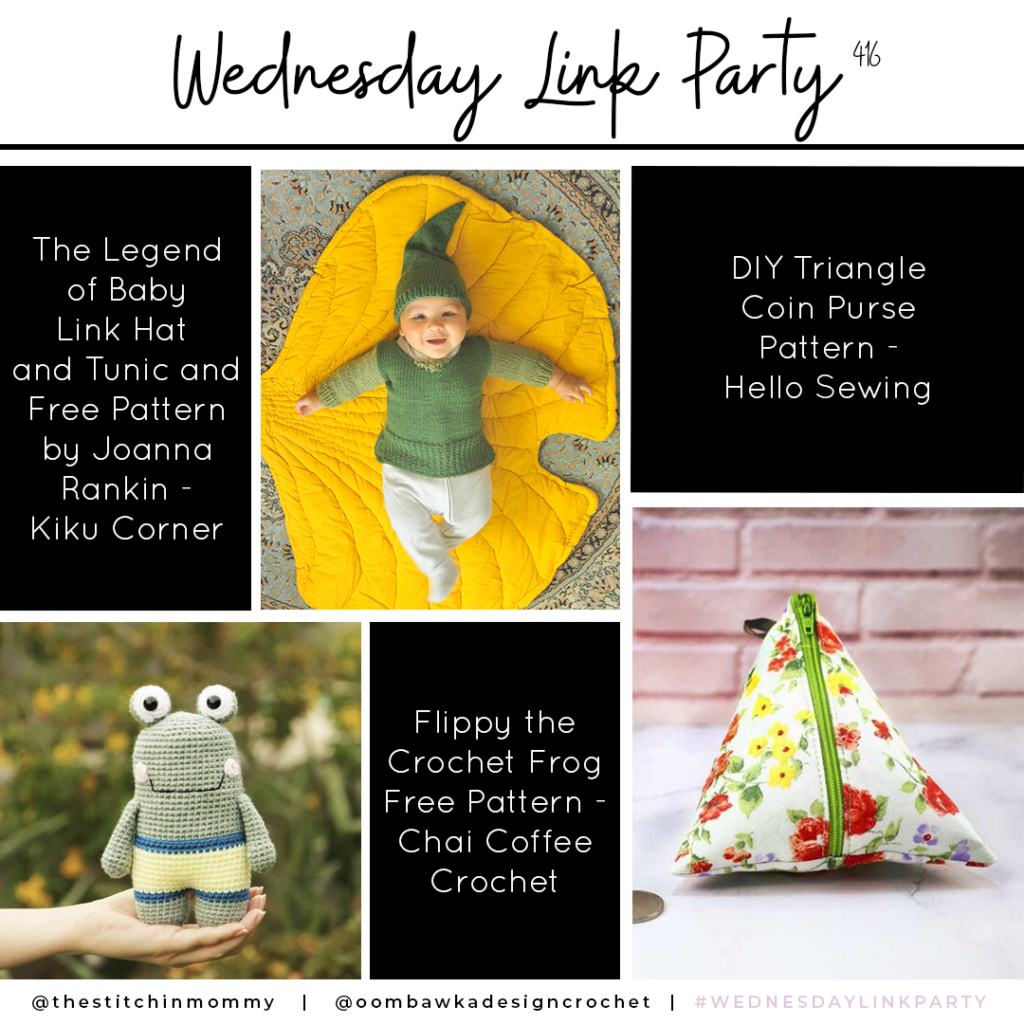 Wednesday Link Party 416. Baby Tunic, Flippy the Crochet Frog, Triangle Coin Purse