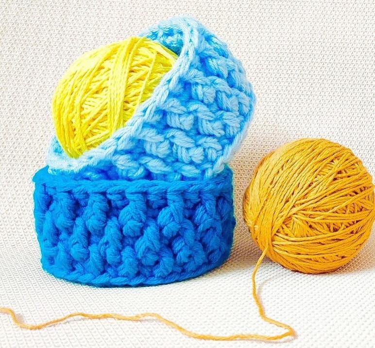 3 Strand Textured Crochet Baskets