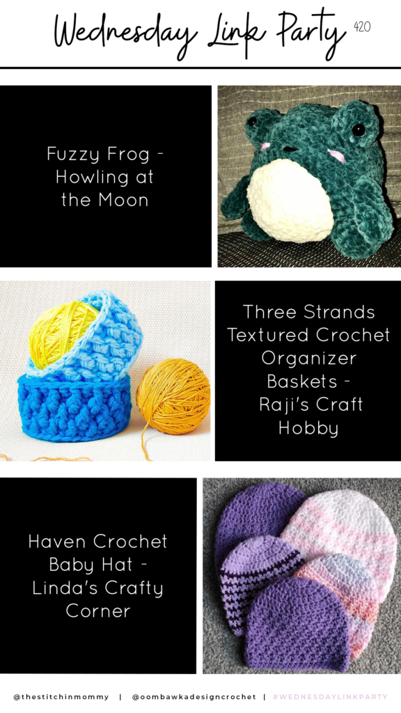 Wednesday Link Party 420 Fuzzy Frog, Baby Hat and Crochet Baskets